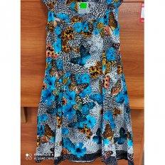 Платье кулирка Бабочки синее