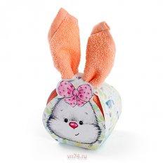 Полотенце махровое Aquarelle Сувенир Кролик Розово-персиковый
