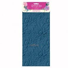 Полотенце вафельное Солнечный дом 35x70 Синие цветы (крупная клетка)