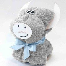 Полотенце махровое подарок - сувенир Бычок Холодный серый