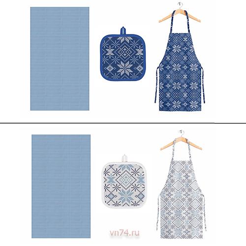 Полотенце вафельное Солнечный дом 35x70 Снежинки (с прихваткой и фартуком)
