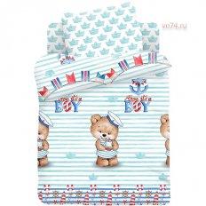 Детское постельное белье Juno с резинкой на простыне Мишка морячок (поплин)