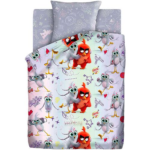 Детское постельное белье Angry Birds Ред и Сильвер (бязь-люкс)