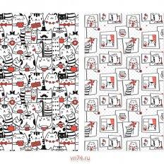 Набор вафельных полотенец Солнечный дом 35x70 Коты (2 предмета)