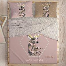 Постельное белье Love Me с простыней на резинке Love nature (перкаль)