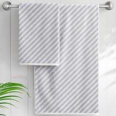 Полотенце махровое Aquarelle Круиз диагональ белый-серый