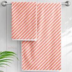 Полотенце махровое Aquarelle Круиз диагональ розово-оранжевый-белый