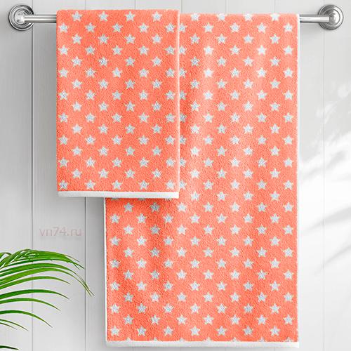 Полотенце махровое Aquarelle Круиз звезды розово-оранжевый-белый