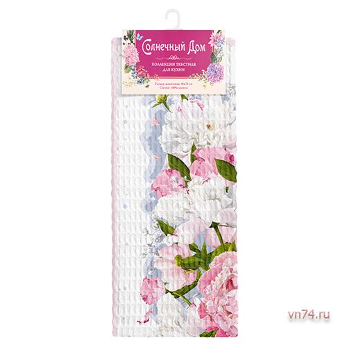 Полотенце вафельное Солнечный дом 35x70 Розовые пионы (крупная клетка)