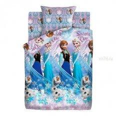 Детское постельное белье Холодное сердце Сёстры и Олаф (сатин)