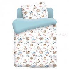 Детское постельное белье Непоседа Птенцы голубой (поплин)
