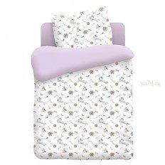 Детское постельное белье Непоседа Птенцы лиловый (поплин)