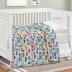 Детское постельное белье Непоседа с простыней на резинке Транспорт (поплин)