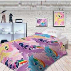 Детское покрывало стёганное Непоседа My Little Pony Небесные пони (хлопок)