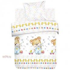 Детское постельное белье Непоседа Мишка с уточкой (поплин)