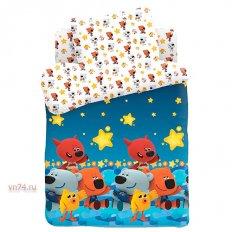 Детское постельное белье с резинкой на простыне Ми-ми-мишки Ночное небо (поплин)