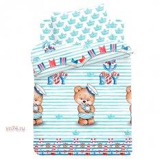 Детское постельное белье с резинкой на простыне Непоседа Мишка морячок (поплин)