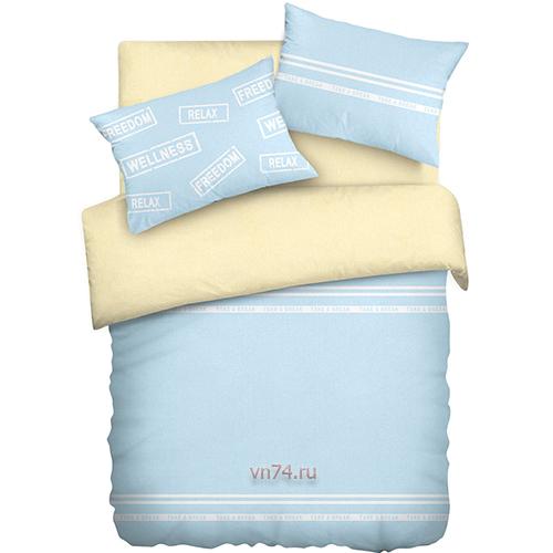 Постельное белье Wenge Uno ванильно-голубой (бязь-гост)