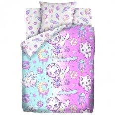 Детское постельное белье Juno Neon Космические животные (поплин)