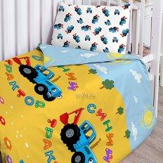 Детское постельное белье Синий трактор Едет трактор (поплин)