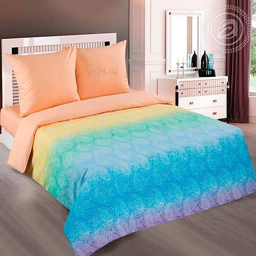 Постельное белье Арт-постель Лазурь персик (поплин)