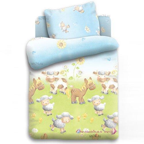 Детское постельное белье Овечки на лугу (бязь-люкс)