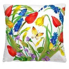 Подушка декоративная 40 x 40 Красные тюльпаны