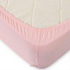 Простыня на резинке трикотажная т-розовая (хлопок)