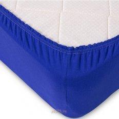 Простыня на резинке трикотажная синяя (хлопок)
