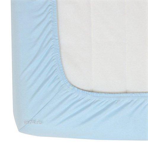 Простыня на резинке трикотажная с-голубая (хлопок)