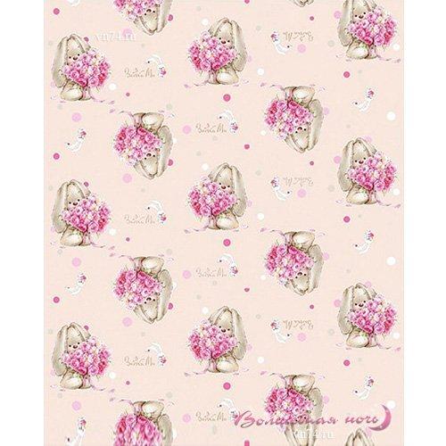 Детский плед Зайка с цветами (флис)