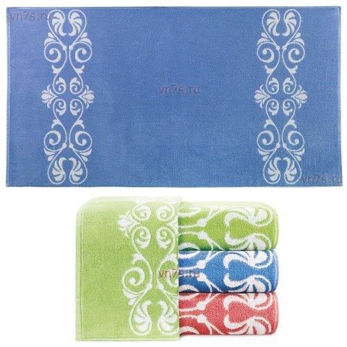 Полотенце махровое Aquarelle Шарлиз белый-спокойный синий