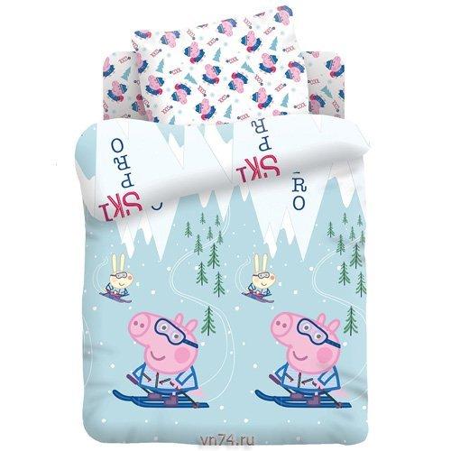 Детское постельное белье Свинка Пеппа Джордж на лыжах (бязь-люкс)