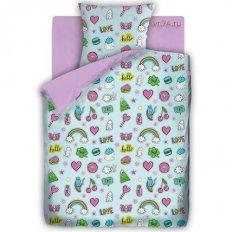 Детское постельное белье For You Лиловый Аппликации (бязь-люкс)