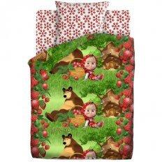 Детское постельное белье Маша и Медведь Клубничный... (бязь-люкс)
