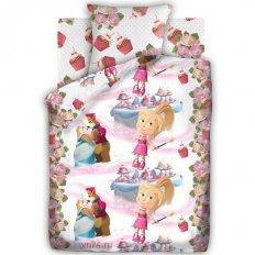 Детское постельное белье Маша и Медведь Праздник (бязь-люкс)