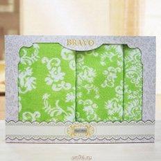 Набор из 3 махровых полотенец 30х50, 50х90, 70х140 Элиза зеленый