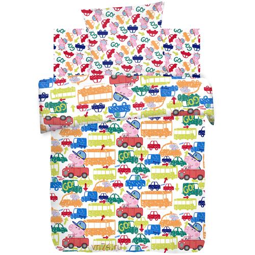 Детское постельное белье Свинка Пеппа Джордж за рулем (бязь-люкс)