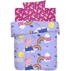 Детское постельное белье Свинка Пеппа и радуга (бязь-люкс)