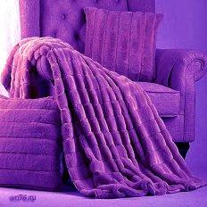 Плед из меха шиншилла фиолетовый евро 200x220