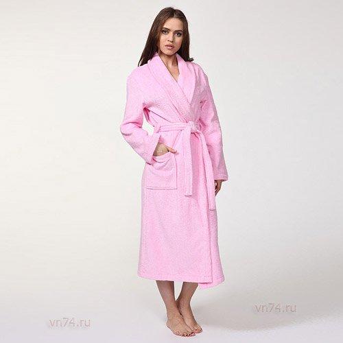 Халат махровый розовый (хлопок)
