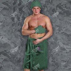 Набор для сауны махровый мужской зеленый