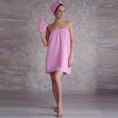 Набор для сауны махровый женский розовый