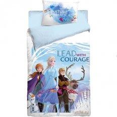 Детское постельное белье Холодное сердце Lead with courage (поплин)