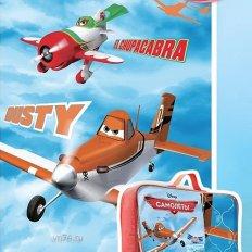 Детское покрывало стёганное Самолеты На виражах (хлопок)