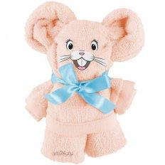 Полотенце махровое подарок Мышонок Розово-персиковый