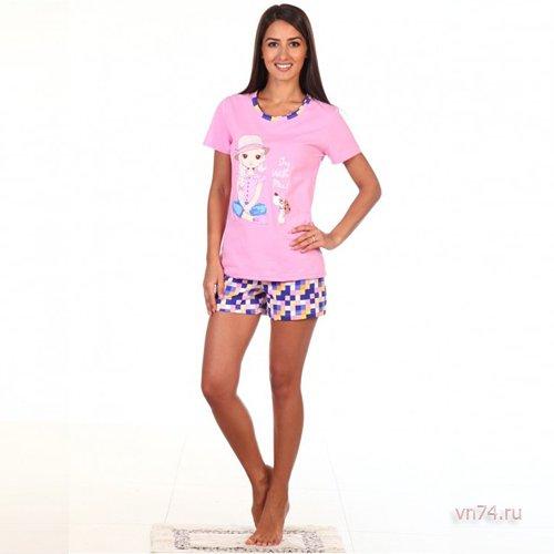 Пижама Элис-3 розовая (хлопок)