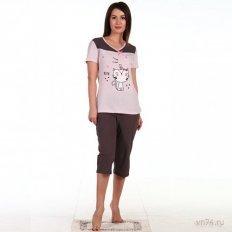 Пижама Котик-2 коричневая (хлопок)
