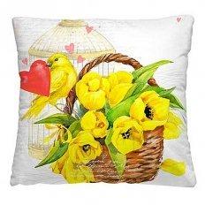 Подушка декоративная 40 x 40 Тюльпаны в корзине