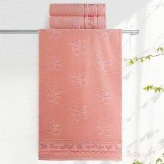 Полотенце махровое Aquarelle Бабочки розово-персиковый